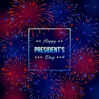 Papel de parede do dia do presidente de fogos de artifício