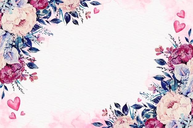 Papel de parede do dia dos namorados em aquarela com flores