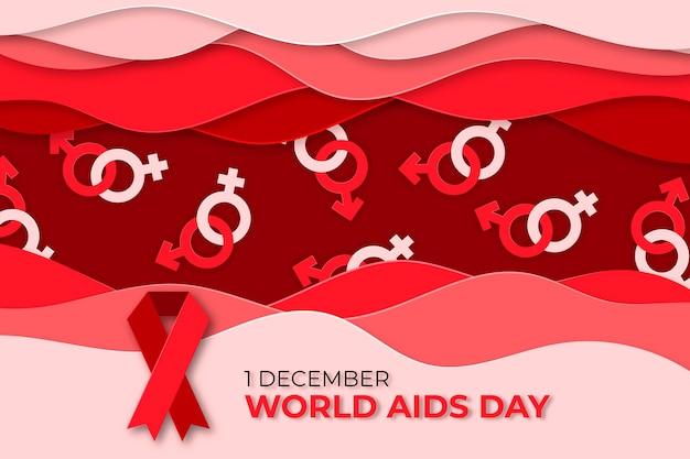 Papel de parede do dia mundial da aids em estilo papel