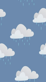 Papel de parede do iphone em nuvem, vetor de padrão de tempo chuvoso fofo