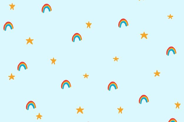 Papel de parede do plano de fundo do arco-íris, vetor fofo