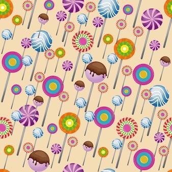 Papel de parede doce pirulito padrão sem costura pirulito de doces