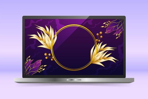 Papel de parede dourado detalhado na tela do laptop