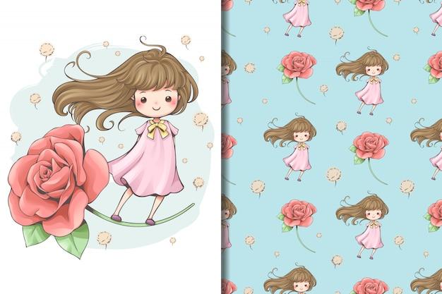 Papel de parede e padrão de flor de conto de fadas