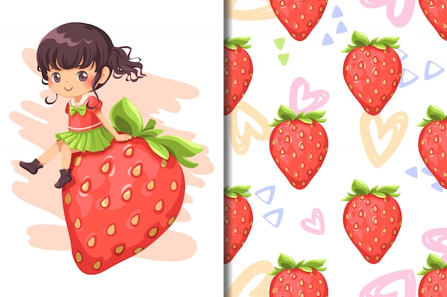 Papel de parede e padrão sem costura morango fruta e mão desenhada coração