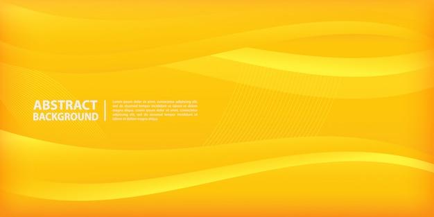 Papel de parede elegante de ondas e linhas em fundo gradiente amarelo