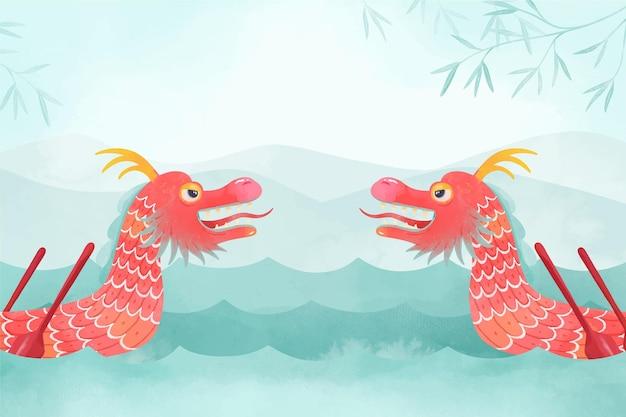 Papel de parede em aquarela com barco dragão