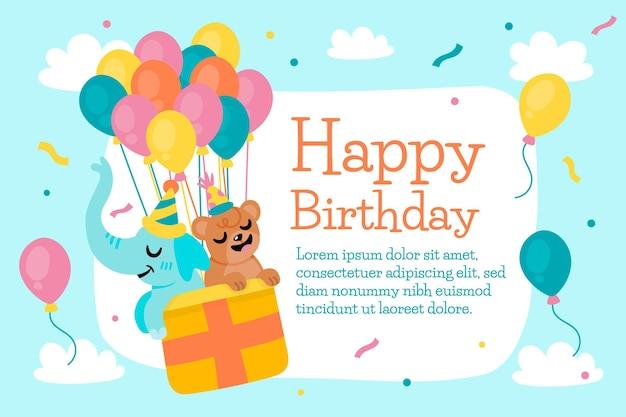 Papel de parede feliz aniversário com balão de ar quente