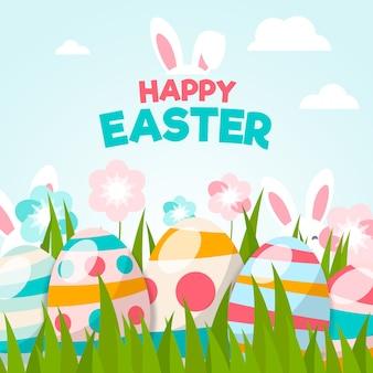 Papel de parede feliz dia de páscoa design plano com ovos
