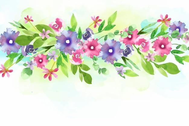 Papel de parede floral colorido em aquarela