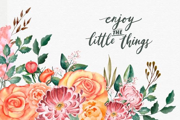 Papel de parede floral com texto inspirador
