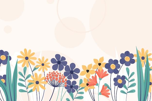 Papel de parede floral de primavera desenhado à mão