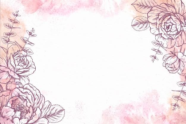 Papel de parede floral desenhado à mão