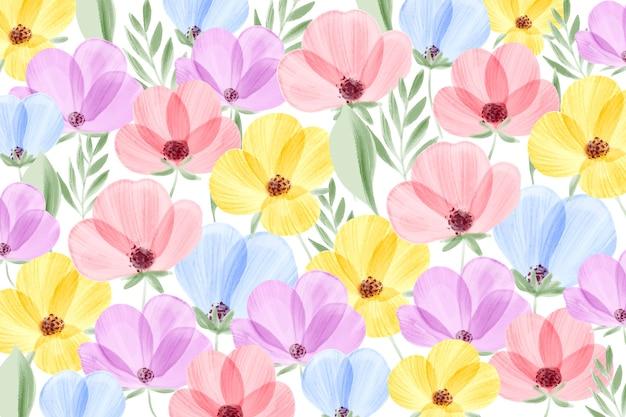 Papel de parede floral em aquarela com cores pastel
