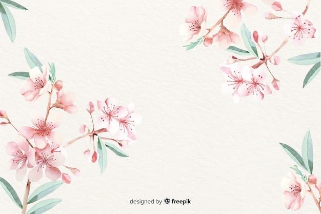 Papel de parede floral em aquarela com cores suaves