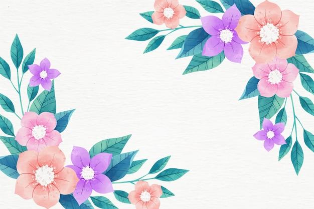 Papel de parede floral em aquarela em tons pastel