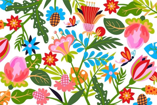 Papel de parede floral exótico colorido