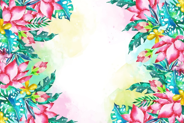 Papel de parede floral exótico e colorido