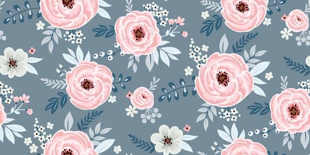 Papel de parede floral fofo sem costura em estilo vintage