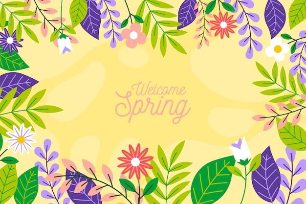 Papel de parede floral ilustrado de primavera