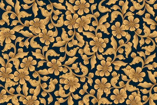 Papel de parede floral ornamental dourado