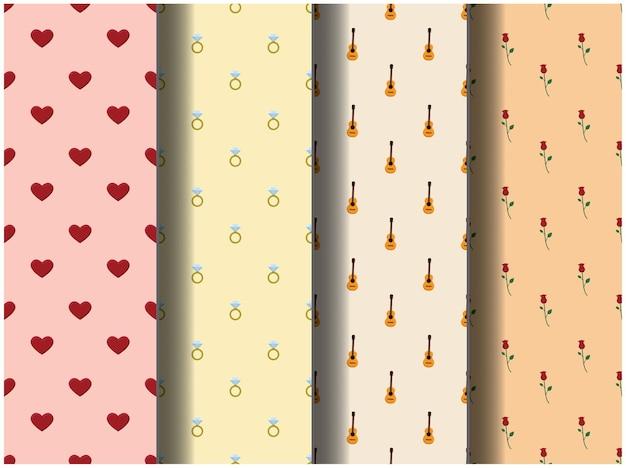 Papel de parede fundo padrão modelo ícone festa desenho animado cartaz panfleto vetor feliz dia dos namorados amor
