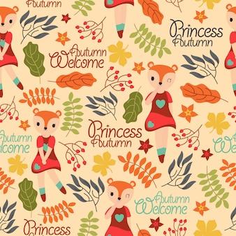 Papel de parede garoto com fox bonito menina e elementos de outono