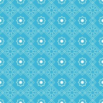 Papel de parede geométrico de fundo islâmico padrão sem emenda na cor azul