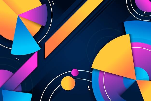 Papel de parede geométrico gradiente abstrato com formas diferentes