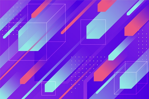 Papel de parede geométrico gradiente com diferentes formas coloridas