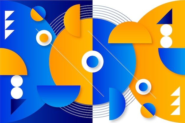 Papel de parede geométrico gradiente com diferentes formas
