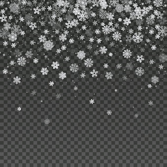 Papel de parede isolado floco de neve de queda da decoração do inverno do vetor. fundo mágico da tempestade de neve do natal. ilustração de inverno transparente de queda de neve