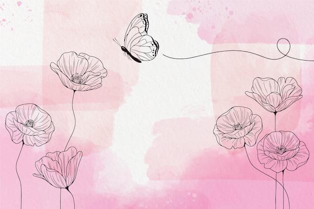 Papel de parede macio em tons pastel com flores