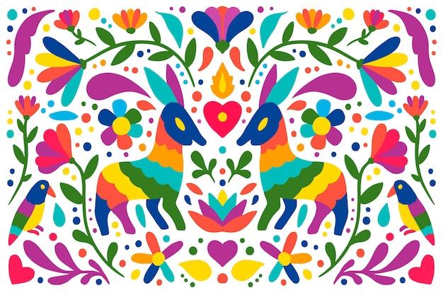 Papel de parede mexicano colorido design plano