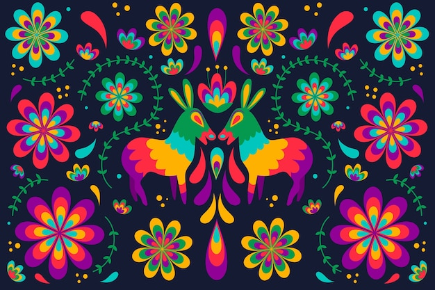 Papel de parede mexicano com detalhes coloridos