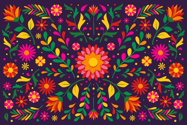 Papel de parede mexicano floral colorido