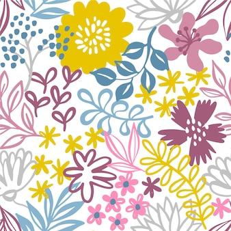 Papel de parede minimalista padrão floral desenhada