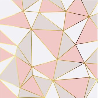 Papel de parede moderno mosaico em ouro rosa e branco