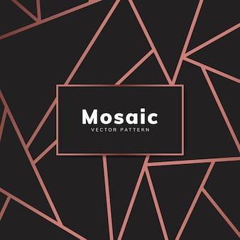 Papel de parede moderno mosaico em ouro rosa e preto