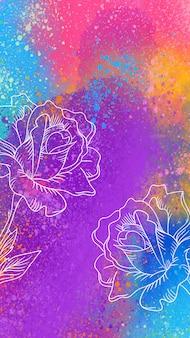 Papel de parede móvel artístico com rosas de mão desenhada