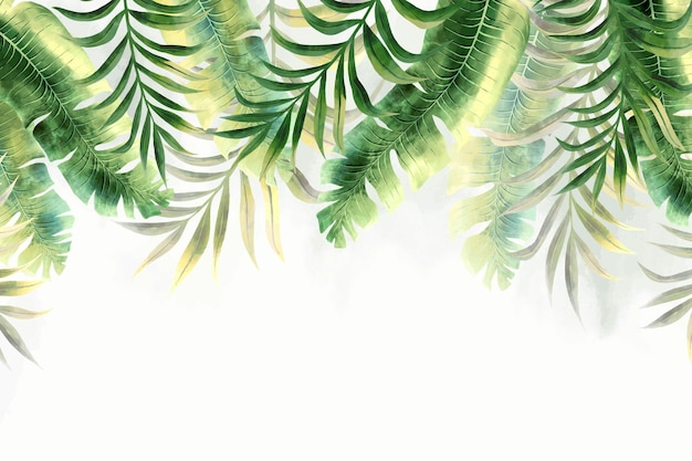 Papel de parede mural de folhagem tropical