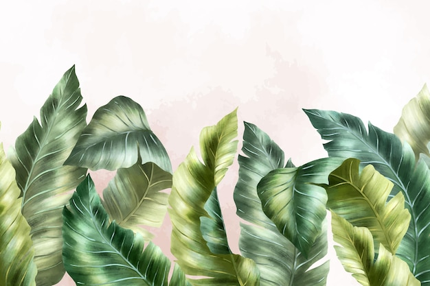 Papel de parede mural tropical com folhagem