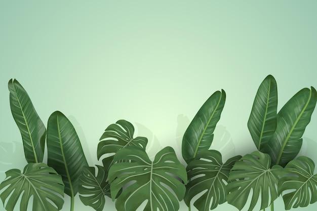 Papel de parede mural tropical com folhas
