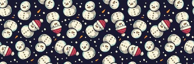 Papel de parede padrão de ano novo ou bonecos de neve de natal