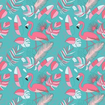Papel de parede padrão flamingo rosa