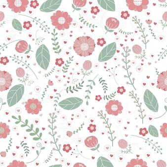 Papel de parede padrão floral vetor sem emenda