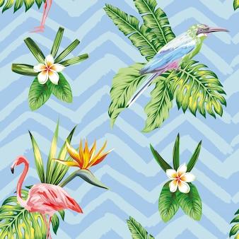 Papel de parede padrão sem emenda com composição de flores de pássaros tropicais e plantas em ziguezague azul