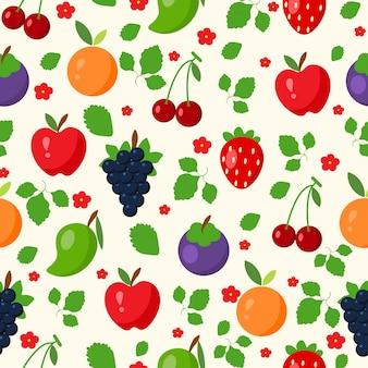 Papel de parede padrão sem emenda com frutas de vetor, maçã, laranja, morango