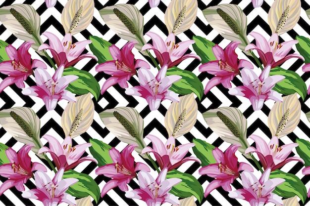Papel de parede padrão sem emenda de flor