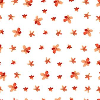 Papel de parede padrão sem emenda de flores vermelhas em aquarela